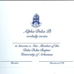 1-color ink flat card, Font #9, R.Blue Thermography, Alpha Delta Pi bid card