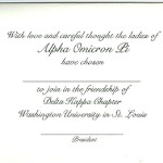 Inside Message, Font #9, Alpha Omicron Pi bid card