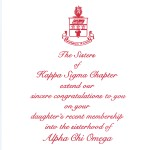 Alpha Chi Omega Parent's Congratulation  Card, Red Raised Ink, Font #9, Vertical