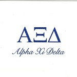Fold-over card, reflex blue thermography (raised print), Greek letters, Font #9, Alpha Xi Delta