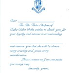 Delta Delta Delta Recommendation Thank You, Vertical, P.Blue, Font #9