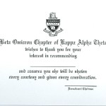 Thermography Flat Card, Font #10, Kappa Alpha Theta Bid Card