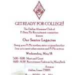 Legacies Party Invitation. Pi Beta Phi wine imprint, font special, vertical panel card