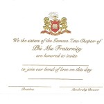 2-color engraved flat card, gold thermography ink, Font #9, Phi Mu bid card