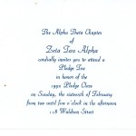 Invitation, Zeta Tau Alpha, R. Blue Thermography (raised print)