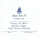 1-color ink flat card, Font #5, R.Blue Thermography, Alpha Delta Pi bid card