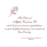 Alpha Omicron Pi Parents Card, Red Thermography, Font #5