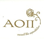 Fold-over Card, Gold Thermography, Alpha Omicron Pi