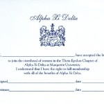 Raised Print Flat Card, Horizontal, Reflex Blue Thermography, Font #8 & 50, Alpha Xi Delta bid acceptance