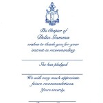 One-color Thermography (raised ink) flat card, R.Blue Ink, Font #9, Vertical Orientation Delta Gamma Recommendation Thank You