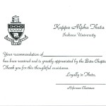 Thermography Flat Card, Font #2, Recommendation Thank You, Kappa Alpha Theta