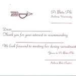 1-color raised print flat card, font #2, wine thermography, Pi Beta Phi Recommendation thank you