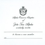 1-color flat card, black thermography, font #5, Zeta Tau Alpha bid invitation