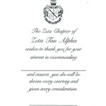 Zeta Tau Alpha recommendation thank you, Vertical,Black Thermography, Font #9