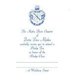 Invitation, Zeta Tau Alpha, Vertical, R Blue Thermography