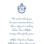 Thank you card, Zeta Tau Alpha, Vertical, Dk Blue Thermography, Font #2