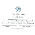 2-color engraved flat card, Black Thermography, Font #9, Zeta Tau Alpha bid card