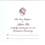 1-color ink flat card, Wine thermography, Font #9, Alpha Phi Initiation invitation