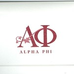 Fold-over Note Card, Wine Thermography National Office Greek, Alpha Phi