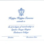 Kappa Kappa Gamma Bid Card, R. Blue Thermography, Font #9