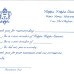 Kappa Kappa Gamma Recommendation Thank You, R. Blue Thermography, Font #9