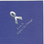 Napkin, Purple, Silver Foil Cancer Ribbon, font Garamond, Alpha Chi Omega