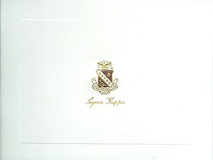 2-color Steel Die Engraved Fold-over Card, Sigma Kappa