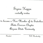 Sigma Kappa bid card, inside message, font #11