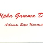 1-color Thermography fold-over card, no panel card, red ink, font #18, Alpha Gamma Delta