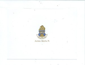 2-color engraved fold over card. Alpha Delta Pi